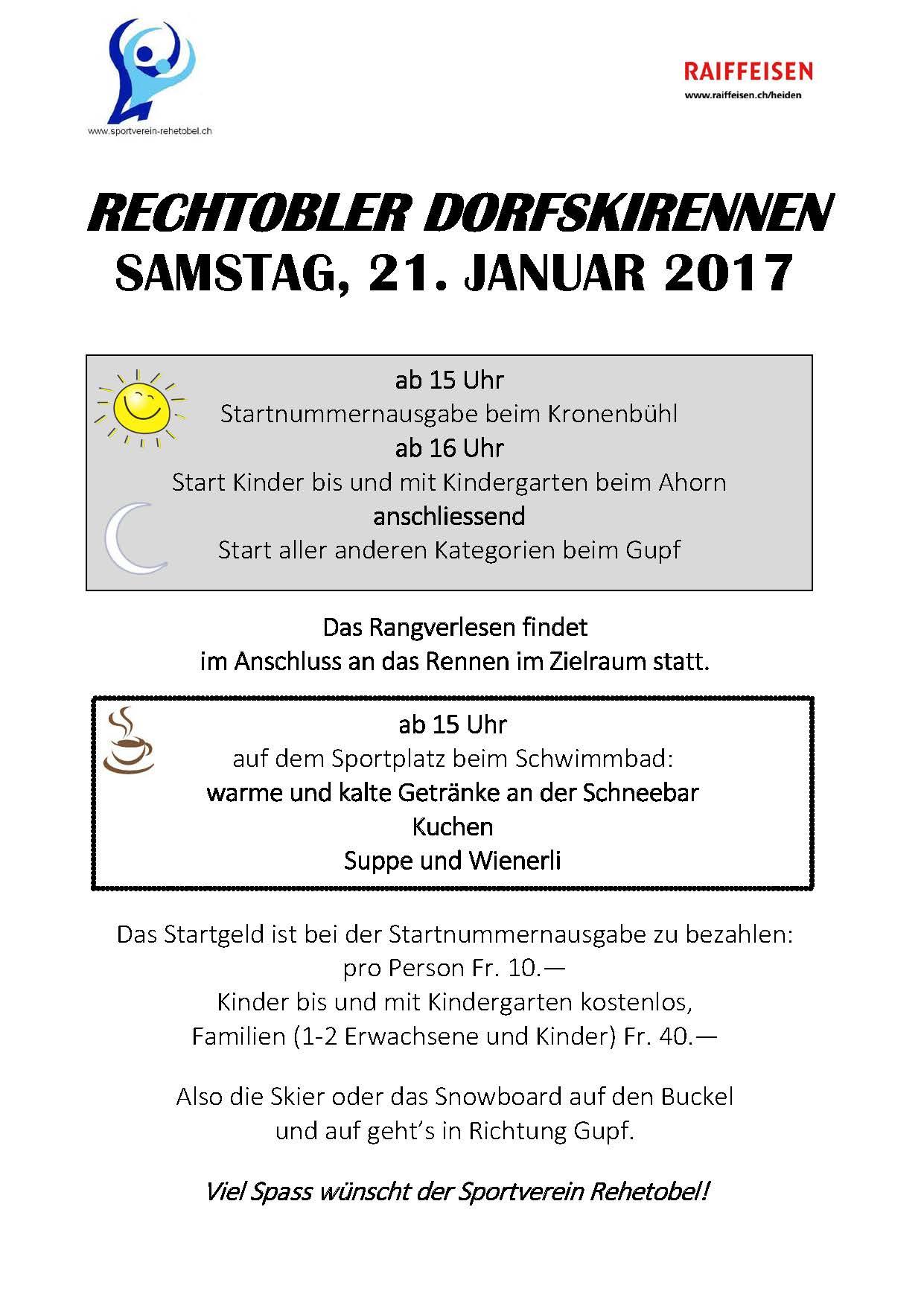 Rechtobler Dorfskirennen: Samstag, 21. Januar 2017, ab 15 Uhr